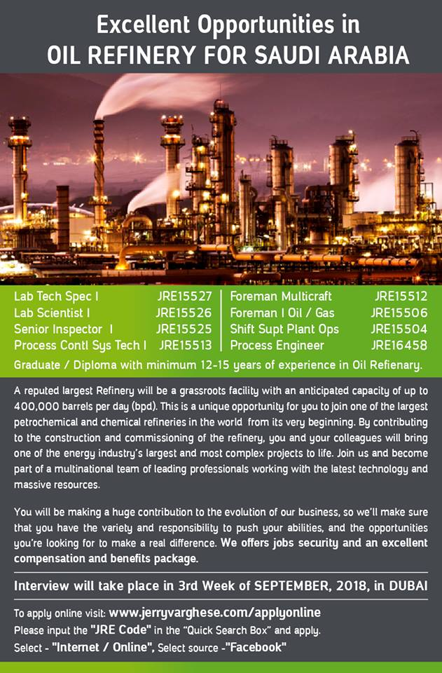 Excellent Opportunities In Oil Refinery For Saudi Arabia
