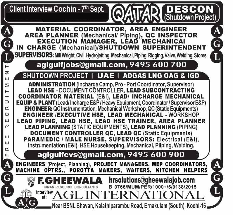 HIRING FOR ADNOC PROJECT – UAE