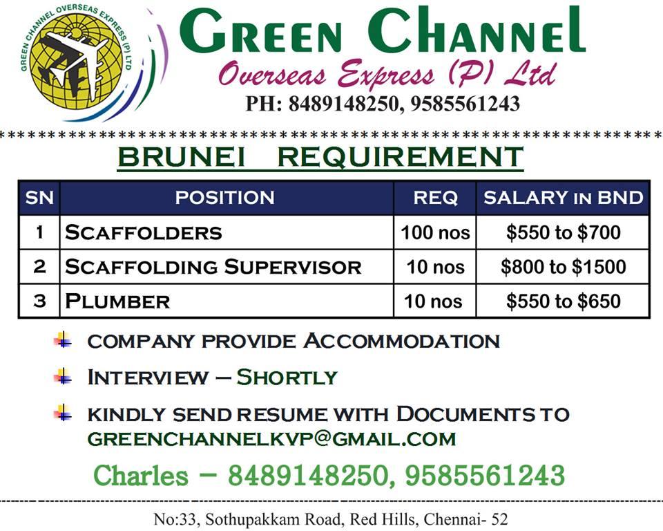 Brunei Requirement for Construction Jobs SCAFFOLDING & PLUMBER